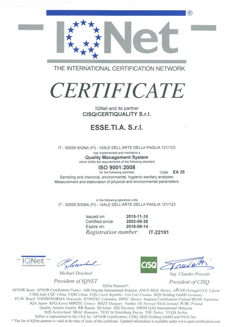 Certificazione IQNET 2015